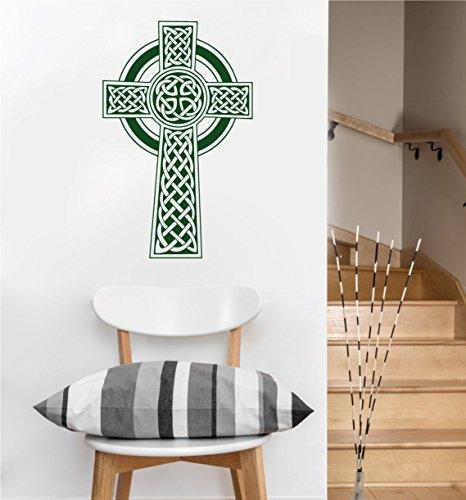 Celtic Cross Decal | Wall Sticker (Dark Green, 22.5