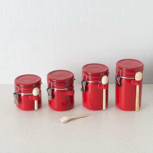 Home Basics CS44155 4 Piece Ceramic Spoon Airtight Set, Food Storage Container for Kitchen Counter, Sugar, Coffee, Canister, Red