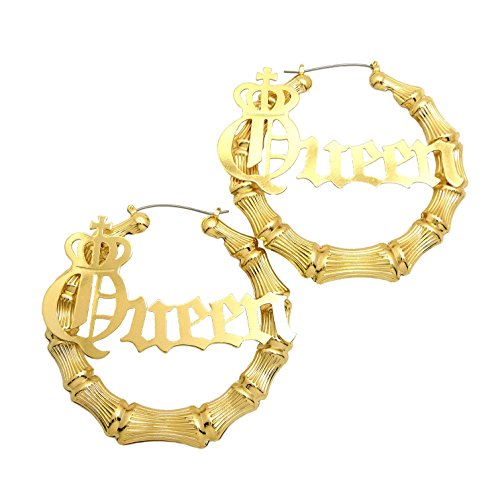 Earrings Door Knocker (Queen Charm Bamboo Door Knocker Hoop Pincatch Earrings, Gold-Tone)