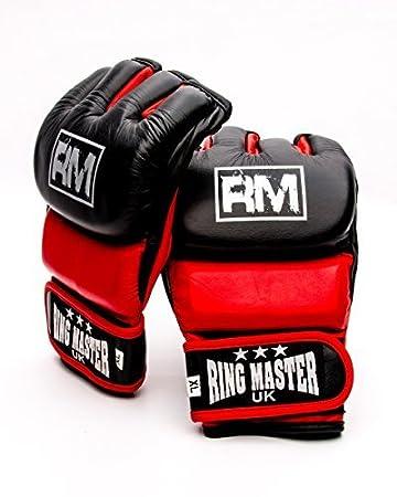 RingMasterUK manoplas de piel auténtica guantes de hombre para artes marciales mixtas Grappling UFC boxeo Lucha, hombre mujer, negro /rojo