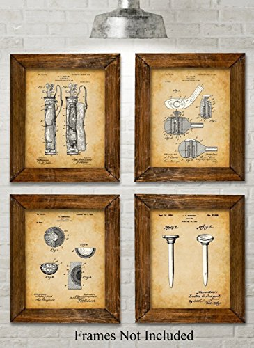 Original Golf Patent Art Prints - Set of Four Photos (8x10) Unframed - Great Gift for Golfers (Golf Presents For Men)