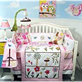 SoHo Pink Summer Bird Songs Baby Crib Nursery Bedding Set 13 pcs included Diaper Bag with Changing Pad & Bottle Case**Reversible Into Morden Pink & Brown Polka Dot Designs !**
