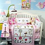 SoHo Pink Summer Bird Songs Baby Crib Nursery Bedding Set 13 pcs included Diaper Bag with Changing Pad & Bottle Case