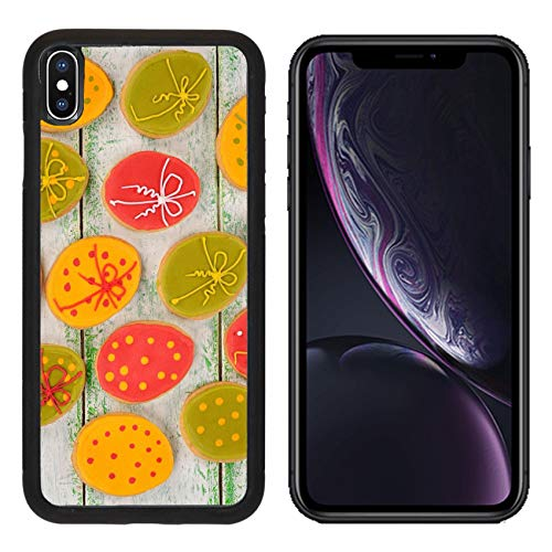 Luxlady Apple iPhone XR Case Aluminum Backplate Bumper Snap Cases Easter Cookies Decorated with Icing on White Background Image ID 25857973