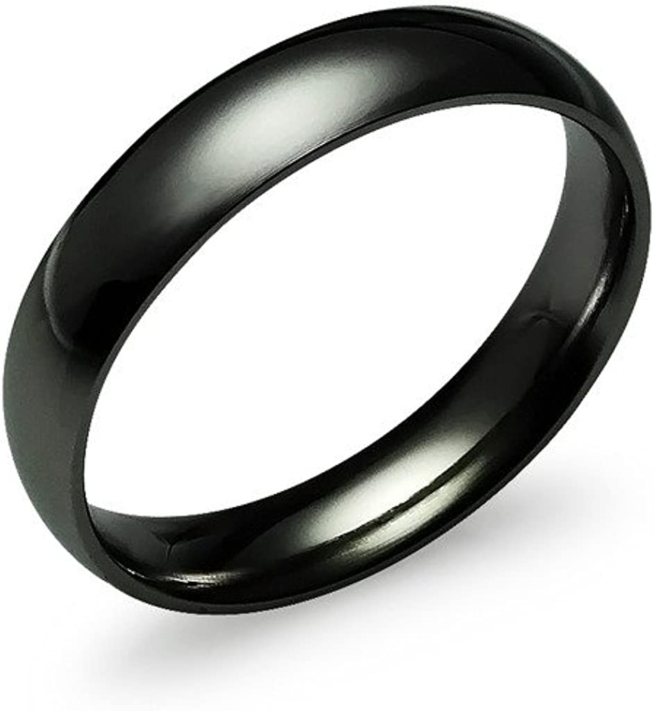 Silverline Jewelry 4mm High Polished Silver/Yellow Gold/Rose Gold/Black/Blue Tone Stainless Steel Ring for Men Women Wedding Bands Mirror Polished Comfort Fit Size 5-14