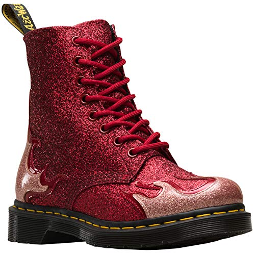 Dr.Martens Womens 1460 Pascal Flame Synthetic Pink Red Boots 8.5 US