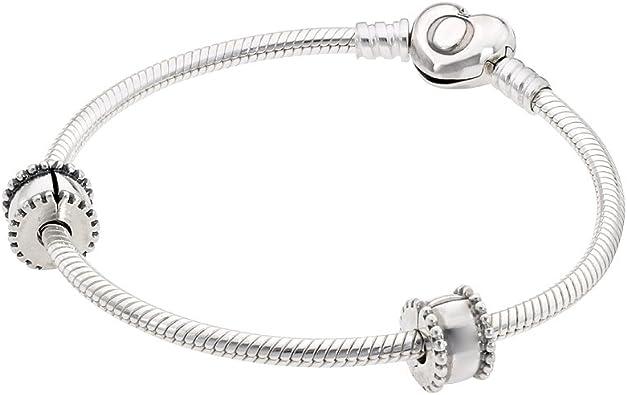 Pandora Women Iconic Heart Bracelet Set with 2 Clips & 1 Charm Jewelry  USB795219