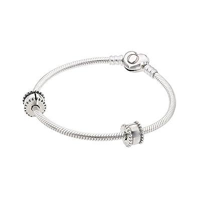 fa7ef1509 Amazon.com: Pandora Women Iconic Heart Bracelet Set with 2 Clips & 1 Charm  Jewelry USB795219: Jewelry
