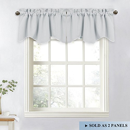 (NICETOWN Living Room Short Curtains - 52-inch x 18-inch Rod Pocket Durable Valance Curtains for Tiny Bathroom Window (Light Grey=Greyish White, Set of 2))