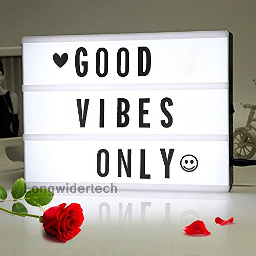 Light up Box Sign with Letters - A4 Size DIY Decorative Cinema Symbol, Fun Message Board for Birthday Back to School Dorm Room Decorations, Father Day Memorial 4th of July Halloween Party Decor Gifts -