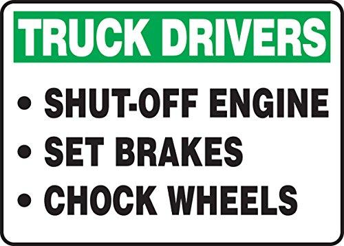 Accuform mtkc905X T Legend 'conductores de camiones motor de apagado juego frenos Calzo ruedas' Sign, 25.4cm de altura,...