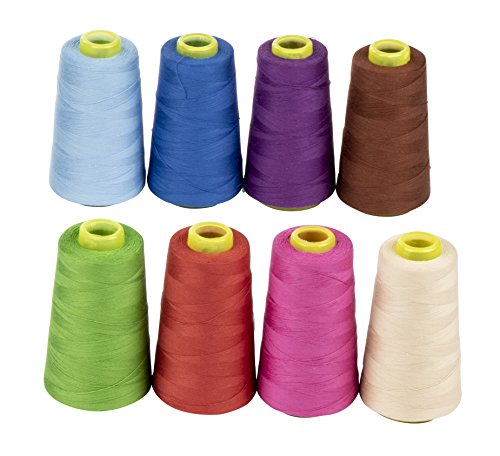Sewing Thread Spools - 8-Count Natural Cotton Threads for Sewing Machine and Hand Sewing, 8 Colors, 1700 Yards Total ()