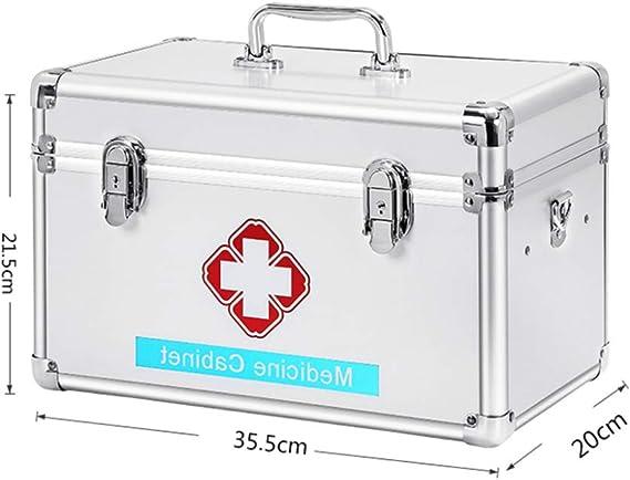 YXYXX Portátil Caja de Almacenamiento Médica,Metal Botiquín de Primeros Auxilios Hogar,Caja médica Tener Mango Multifuncional con Compartimento Viajar Conveniencia/Plata / 35.5×20×21.5cm: Amazon.es: Bricolaje y herramientas