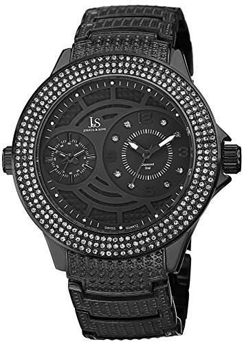 Joshua & Sons Men's JS80BK Gray Multifunction Swiss Quartz Watch with Crystal Accented Bezel and Gray Dial With Gray ()