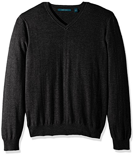 Perry Ellis Men's Classic Solid V-Neck Sweater, Charcoal Heather, XX ()