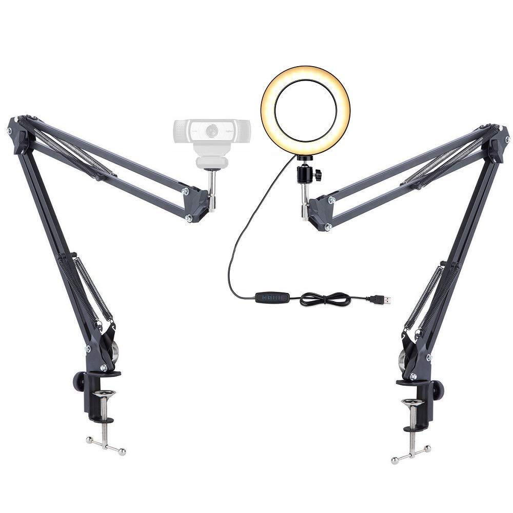 Webcam Light Stand, 6'' Ring Light with 2 Suspension Arm Mount for Logitech Webcam C920 C930e C922x C925e Brio Recording Craft,Calligraphy,Drawing,Online Lesson,YouTube Videos by AceTaken