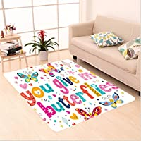 Nalahome Custom carpet Butterfly Decor For Girls Bathroom Love Quote Hearts area rugs for Living Dining Room Bedroom Hallway Office Carpet (5 X 7)