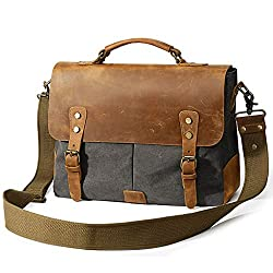 Zh Backpack Retro Crazy Horse Leather Canvas Bag Business Briefcase Messenger Bag Handbag Shoulder Messenger Bag Color Blue Size M