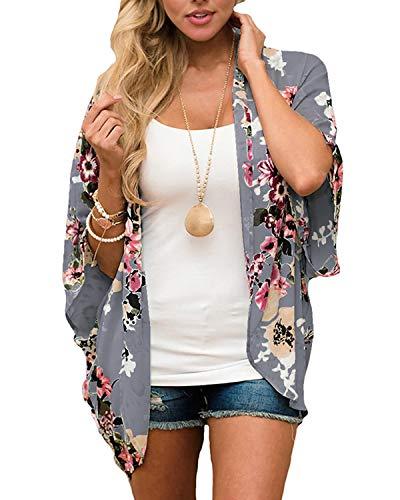 Womens Floral Chiffon Casual Cardigan - Bikini Half Sleeve Kimono Shawl Sun Protection Blouses Beach Wear (S, Dark Gray)