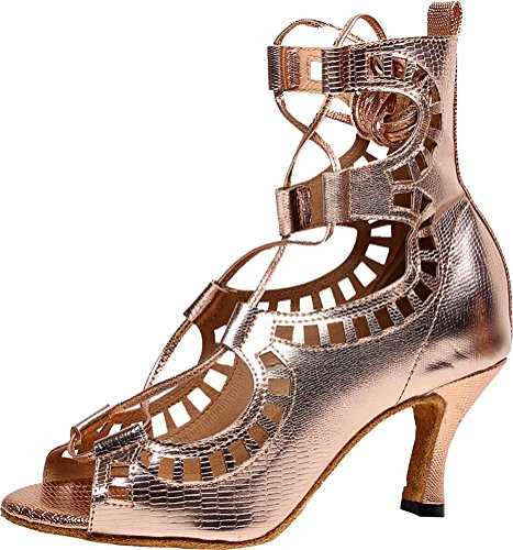 Salabobo AQQ-5013 Womens Latin Wedding Party Tango Peep Toe Customize Heel PU X-Strap Dance Shoes golden PcJz0ljCPP