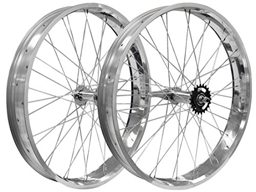 "Flying Horse 26"" x 3"" Coaster Brake Fat Tire Bicycle Rim Set (Silver)"