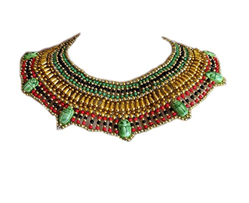 7 Scarabs Beaded Cleopatra Necklace Collar