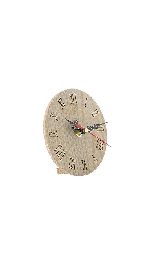 SCRT Retro Reloj pequeño Redondo Verde de Madera Reloj de Mesa ...