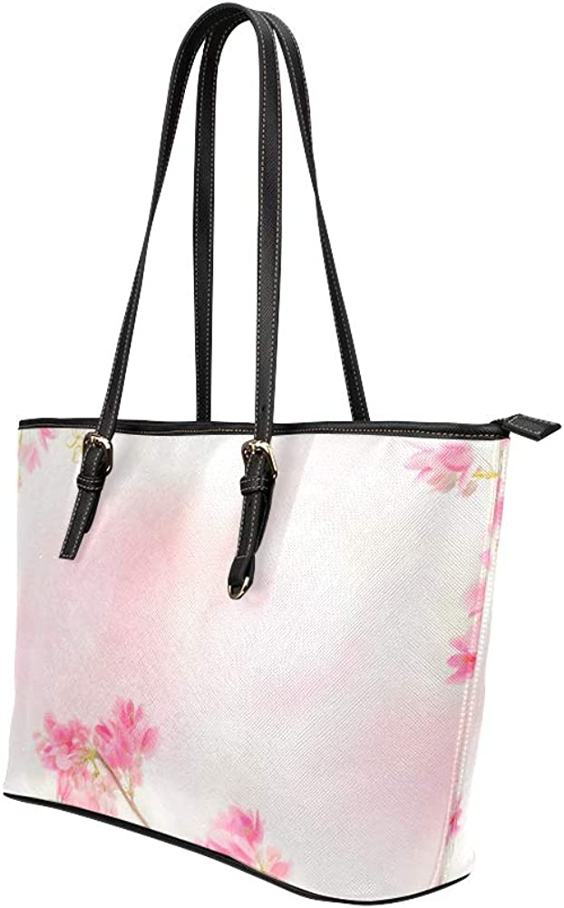 Tote Zippered Pink Spring Romantic Flower Fragrant Leather Hand Totes Bag Causal Handbags Zipped Shoulder Organizer For Lady Girls Womens Women Tote Bags