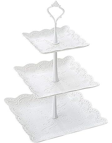 DEBEME - Soporte para Tartas con 3 estantes de plástico para Cupcakes, postres, Platos