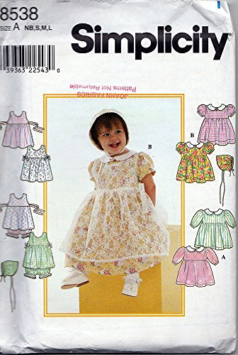- OOP Simplicity Pattern 8538. Baby Girl Szs NB,S,M,L, (3m,6m,12m,18m) Dress; Pinafore; Panties; Bonnet