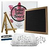 Black Felt Letter Board Bundle | 10 x 10 Inch Changeable Letter Board Set with 640 Letter Board Letters, Accessories, Wood Stand, Letter Box, Scissors & File | Perfect Bridal Shower Gift, Wedding Gift