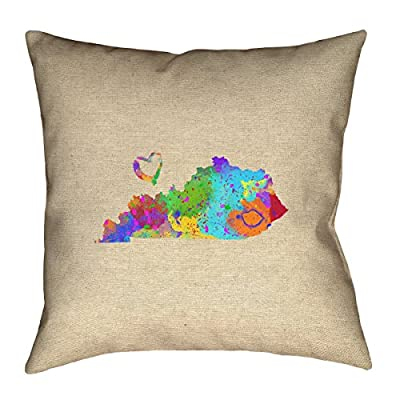 "ArtVerse Katelyn Smith Kentucky Love Watercolor 16"" x 16"" Pillow-Faux Linen (Updated Fabric) Double Sided Print with Concealed Zipper Cover Only"