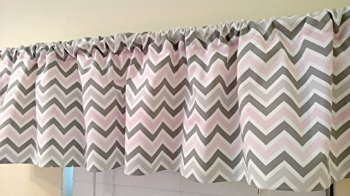 Pink and two shades & grey Chevron Valance Curtain Baby Girl Nursery Window Decor Zig Zag Bella