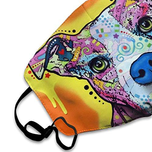 Muindancer Dust Mask, Pitbull Dog Art Face Mask with Adjustable Earloops Breathable Reusable Outdoor Mouth Cover for Adults Kids