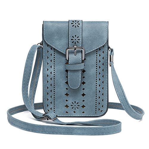 WOZEAH Roomy Pockets Series Small Crossbody Bag Cell Phone Purse Wallet For Women (blue)