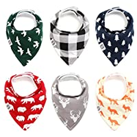 """Baby Bandana Drool Bibs for Boys & Girls 6 Pack """"Forest Friends Set"""" by Mumby"""