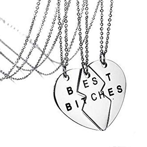 Matching 3 Pieces Necklace for Friends Best Bitches Heart Puzzle Pendant Birthday Jewelry Gifts for Women (Best Bitches 3 Piece Necklace)