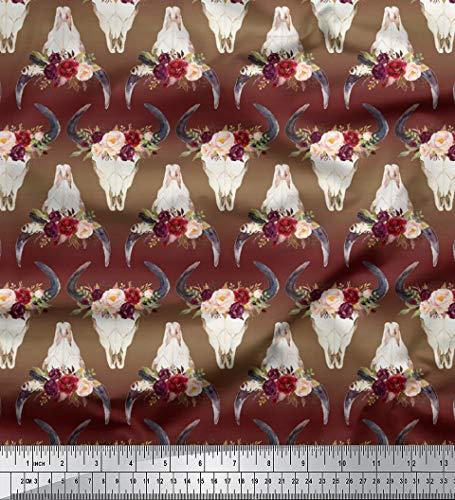 - Soimoi Brown Silk Fabric Floral Bull Skull Decor Fabric Printed BTY 44 Inch Wide