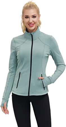 Dolcevida Women's Slim Fit Workout Track Jackets Full Zip Stretchy Warm up Active Running Jacket with Thumb Holes