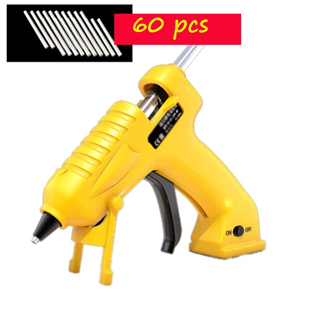 FeiQiangQiang Wireless Hot Melt Glue Gun, 10W USB Lithium Battery Hot Glue Gun, Transparent and Colored Glue Stick, Suitable for Artistic Creation, Christmas Decorations, Yellow Manual aid by FeiQiang
