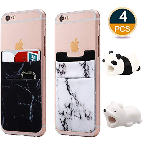 Slot Card Holder (RHCPFOVR 4PCS Compatible Phone Card Wallet Sticker and Cute Animal Cable Bite Compatible Phone/iPhone Xs/Xs Max/XR Accessories Protects Creative Gift)
