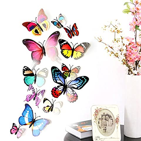 Makaor Wall Mural Stickers 12pcs 3D DIY Fridge Magnet Multicolor Butterfly Art Decal Home Decor Kids Room (Scratch And Sniff Stickers Bulk)