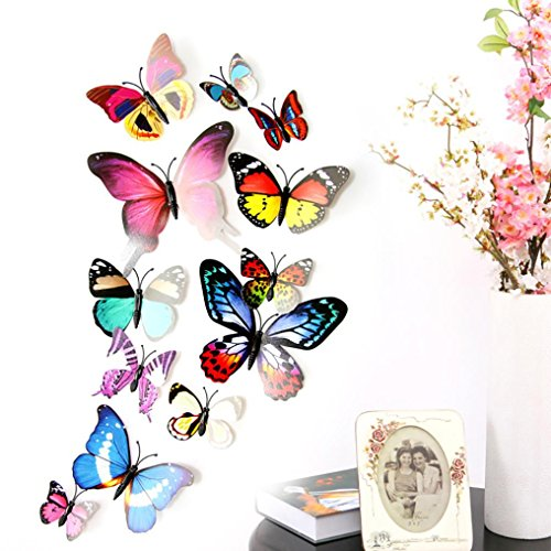 Makaor Wall Mural Stickers 12pcs 3D DIY Fridge Magnet Multicolor Butterfly Art Decal Home Decor Kids Room (Multicoloured)