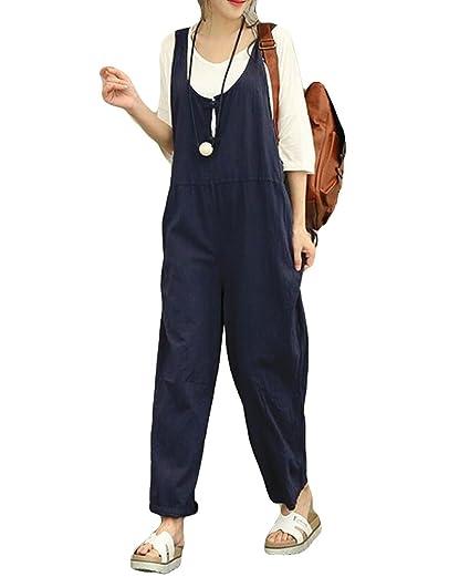 453ccec66ac4 Amazon.com  Jumpsuits for Women Casual Cotton Linen Jumpsuit Long Suspender  Twin Side Bib Wide Leg Overalls Pants  Clothing