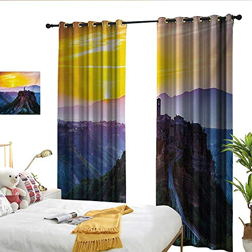 WinfreyDecor Italian Thermal Curtains Old Historic Castle Town on Top of The Hills in Italian Renaissance at Sunset Print Suitable for Bedroom Living Room Study, etc.W120 x L96