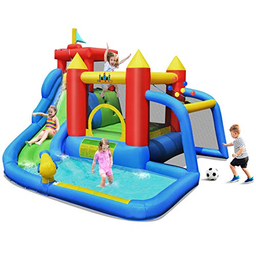 BOUNTECH-Inflatable-Bounce-House-7-in-1-Water-Slide-Park-w-Jumping-Area-Climbing-Wall-Splash-Pool-Cannon-Ball-Gate-Including-Carry-Bag-Repair-Kit-Stakes-Without-Blower