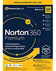 Norton 360 Premium 2021 | 10 Devices | 1 Year Subscription with Automatic Extension | Secure VPN and Password Manager | PC/Mac/Android/iOS | Activation Code in Original Packaging