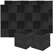 Donner 12-Pack Acoustic Foam Panels Wedges, Fireproof Soundproofing Foam Noise Cancelling Foam for Studios, Re