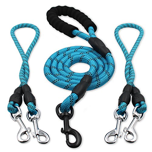 heytech Reflective Dual Dog Leash for 2 Dogs, 5 ft Main Rope with Two 2 ft Auxiliary Ropes, Double Dog Leash 360° Swivel No Tangle Walking (Blue)