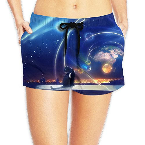 Cool Star Cat Women Beach Shorts 3D Printed Casual Pants Indoor Hot Boardshort (Catwoman Costume Simple)